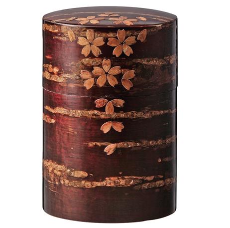 Link to an enlarged image of Cherry wood bark tea caddy/Sakura-Chiruhana