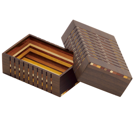 Link to an enlarged 2nd image of Yosegi business card box