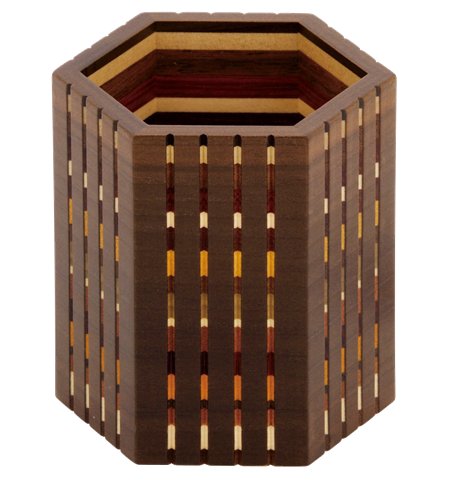Link to an enlarged image of Yosegi hexagon pencil holder