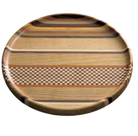 Link to an enlarged image of Yosegi muku 8-sun round tray (stripe)