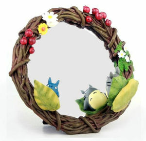 Link to an enlarged image of Totoro Stand Mirror - Hide and Seek in the Wreath