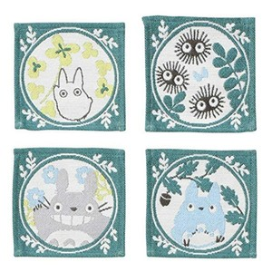 Link to an enlarged image of Tapestry Coaster 4 pcs Set - My Neighbor Totoro Leaf frame