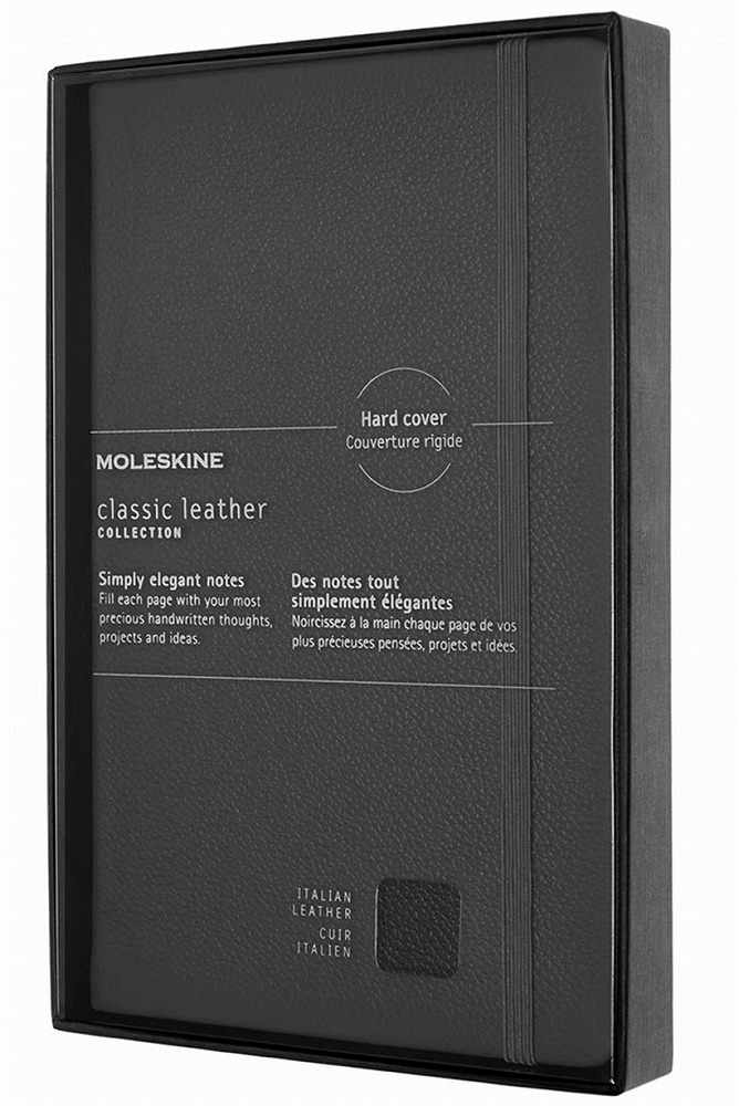 Link to an enlarged image of Moleskine Limited Collection Ntb - Classic Leather - Open Box - Ruled - Lg - Black - Hard Cover