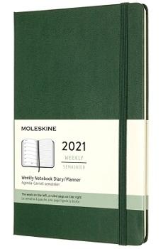 Link to an enlarged image of MOLESKINE 12M Wkly Ntbk Lg Myrtle Green Hard
