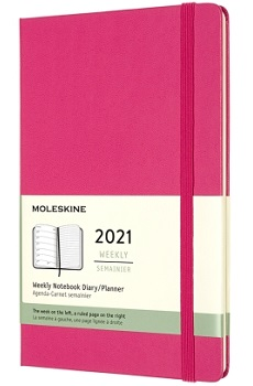 Link to an enlarged image of MOLESKINE 12M Wkly Ntbk Lg Bougainvillea Pink Hrd
