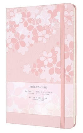 Link to an enlarged 2nd image of MOLESKINE LE NTB SAKURA RULED Large DARK PINK