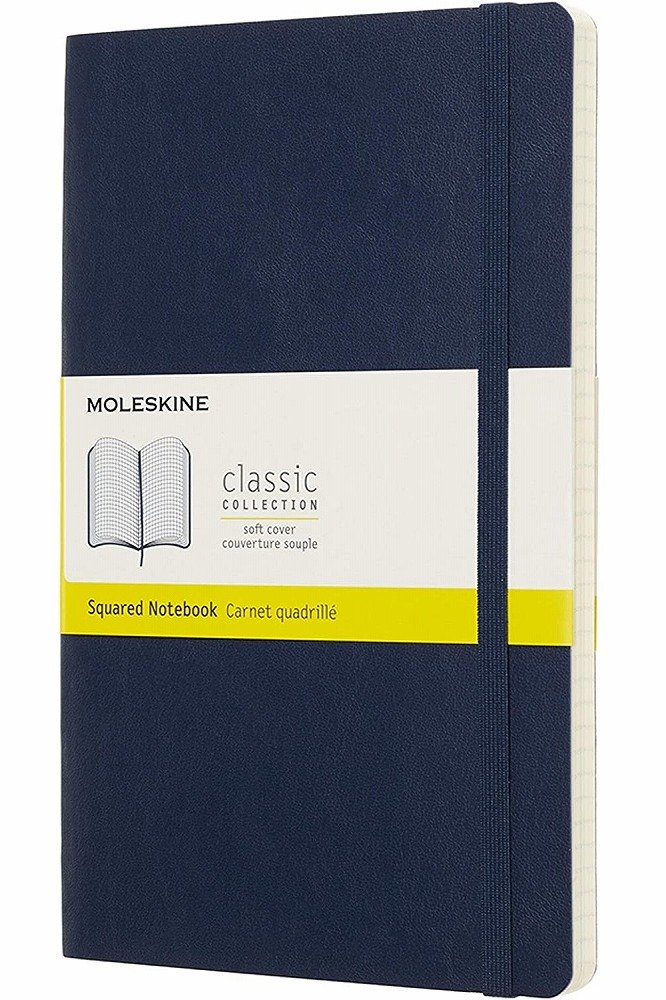 Link to an enlarged image of MOLESKINE NOTEBOOK LARGE SQUARED SAPPHIRE BLUE SOFT
