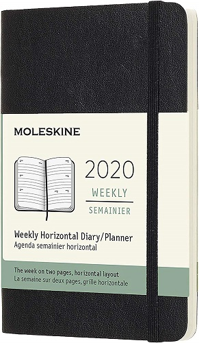 image of MOLESKINE 12M WEEKLY HORIZONTAL POCKET BLACK SOFT COVER