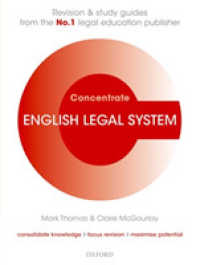 Link to an enlarged image of English Legal System Concentrate : Law Revision and Study Guide (Concentrate) (Study Guide)